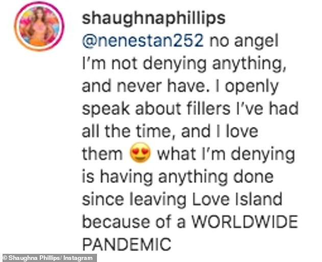 Fillers: After reading the comment Shugina went back: '… Please tell me when you think I have time to get fillers during a world wide pandemic'