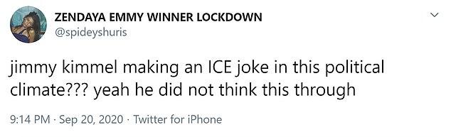 Twitter user: Jimmy Kimme;  Is ICE making a joke in this political climate ???  Yes, he did not think so