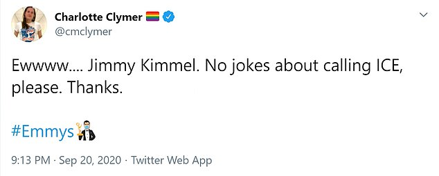 Charlotte Claymer: 'Jimmy Kimmel.  No jokes about calling ICE, please.  Thanks '