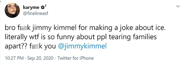 A Twitter user found Kimmel's joke inappropriate, saying, 'What's so funny about people tearing up families?'