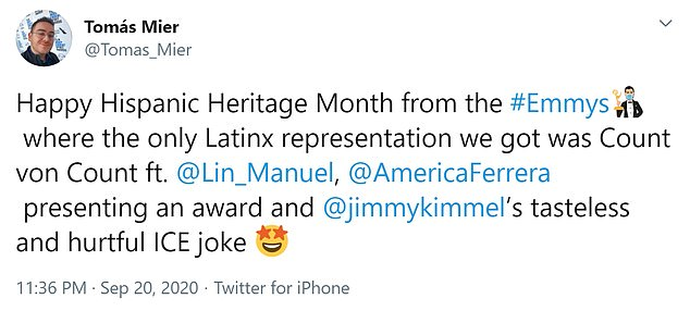Greetings Hispanic Heritage Month from #Emmy, the only Latin representation we have received there is the Count vonContlin manual. [and] USA Ferreira presents an award and Jimmy Kimmel's delicious and painful ICE joke
