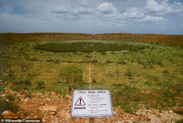 Or Bunda Crater is five times larger than the famous Wolf Creek Crater in Australia.  Wolf Creek was formed by a meteorite believed to have crashed into the Earth 300,000 years ago