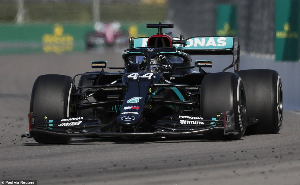 Britain started from pole position to match Michael Schumacher's record of 91 Grand Prix victories