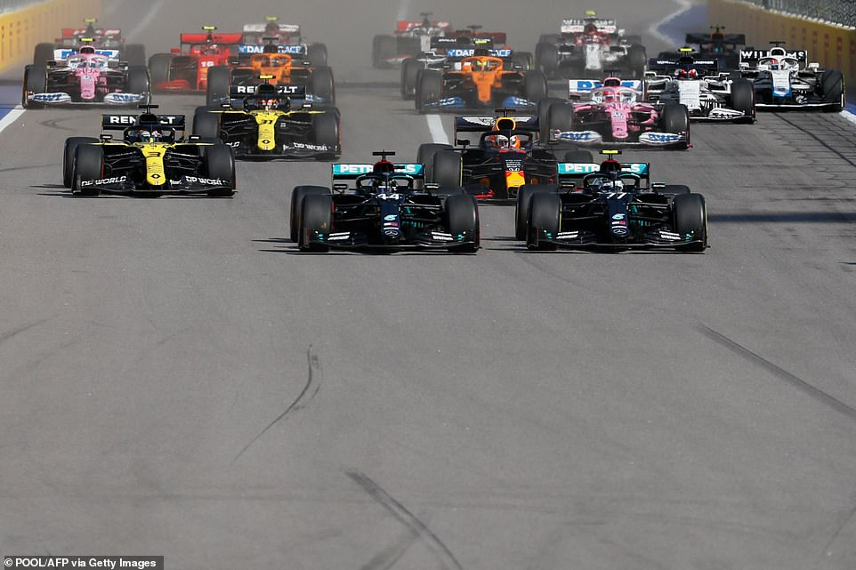 Hamilton got off to a great start from the pole, and Botas (right) joined the team, overtaking Verstappen.