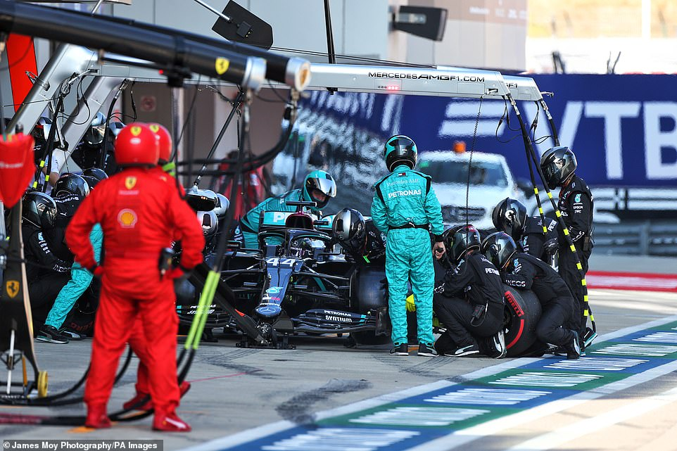 During his only pit stop, Hamilton awarded his five second penalty, which was won by the Russian GP.
