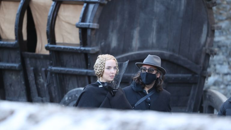 Jodi Comer at Cahir Castle on the set of Last Duel, a historical drama-thriller film directed by Ridley Scott.