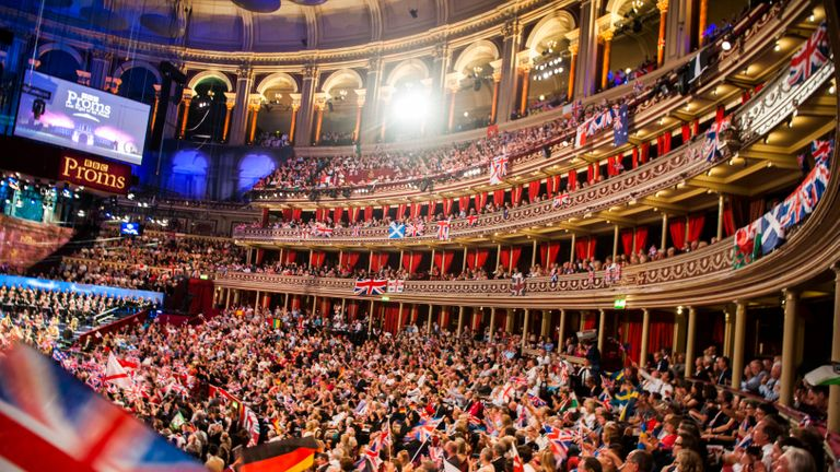 Members of the audience on the last night of the Proms at the Royal Albert Hall in London.
