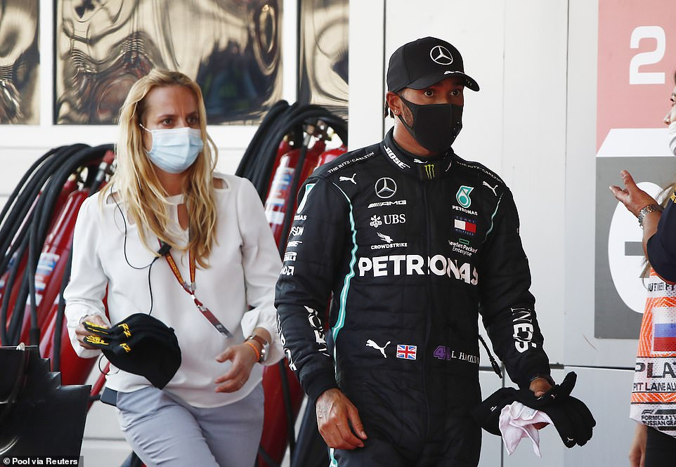 Lewis Hamilton finished third in the Russian Grand Prix after conceding a penalty five seconds.