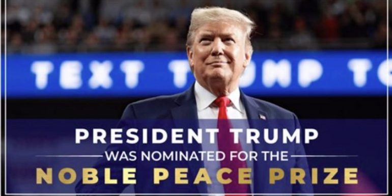 The Nobel Peace Prize spells out Trump's campaign in a fundraising ad