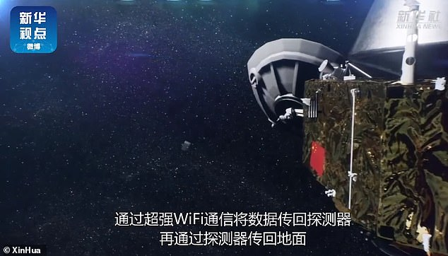 An animation, produced by Chinese state media Xinhua, illustrates how the camera is released into space through an unmanned space probe before taking the first 'selfies'.