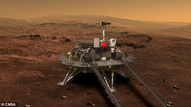 This is a picture of what the Tiananmen-1 rover will look like when it lands on Mars.  The unmanned space probe developed by China will reach the Red Planet next February
