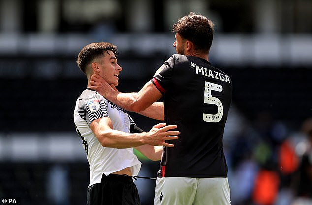 Derby's Tom Lawrence (left) and Miasga sent for full-time clash in June