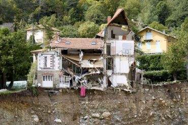 A house destroyed by a landslide on the banks of the Vesubie river