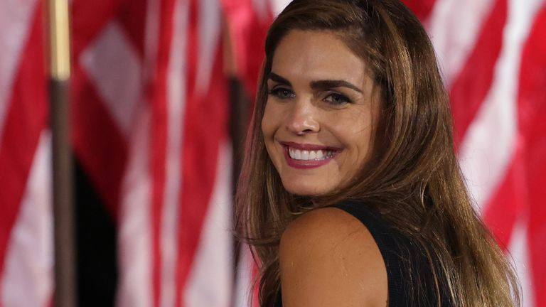 Hope Hicks, former White House Director of Communications, was responding to a speech by U.S. President Donald Trump on August 27, 2020, in Washington, D.C., on the south lawn of the White House, nominating Republican President Nominee.