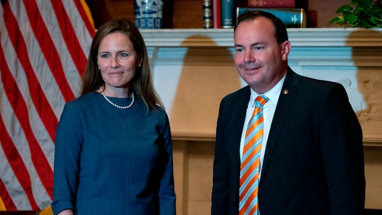 Supreme Court Nominee Judge Amy Connie Barrett (L) meets with US Senator Mike Lee (R-UT) on September 29, 2020 at US Capital in Washington, DC.