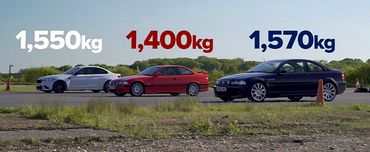 BMW M2 competition drag races E46 M3, E36 M3, all with manual gearboxes