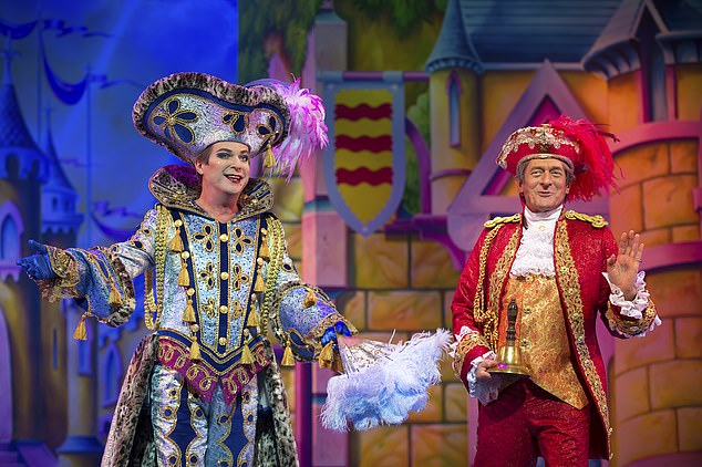 Panto will return to the London Palladium at Christmas.  Oh yeah!  Julian Clary is pictured on stage with Nigel Havers.  Clary has starred in four palladium laughter-a-tones