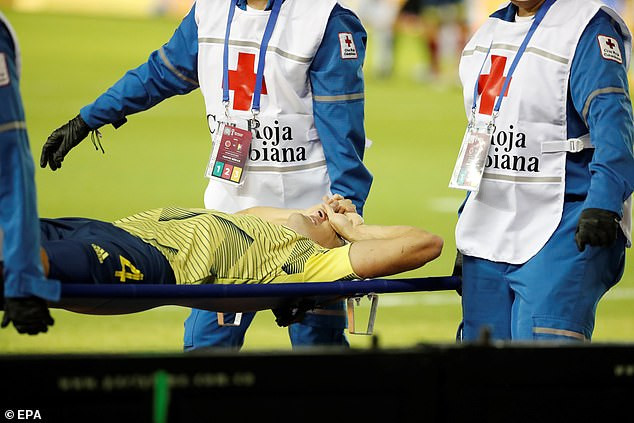 Arias was put on a stretcher in the eighth minute following the incident