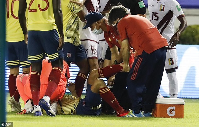 Arias was treated medically and stopped playing for eight minutes