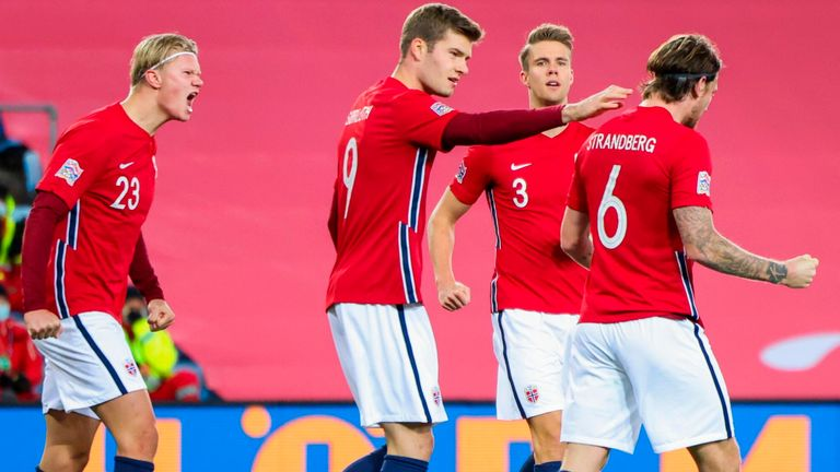 Norway v Arling Brett Holland and teammates celebrate after Norway v Northern Ireland's own goal in the UEFA Nations League football match on October 14, 2020 in Oslo, Norway.  (Photo by Orn E. Borgen / NTB / AFP) (Photo by ORN E. BORGEN / NTB / AFP via Getty Images)