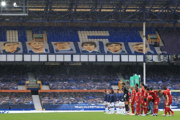 Both teams will line up in front of vacant seats ahead of the Premier League match between Everton FC and Liverpool FC at Goodison Park.