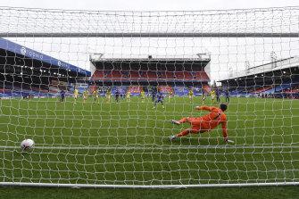 Wilfred Saha of Crystal Palace sent Brighton goalkeeper Matthew Ryan the wrong way on Sunday.