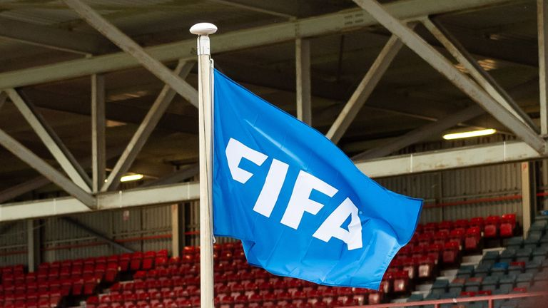 The FIFA flag will be flown at the Racecourse Stadium in Wrexham, Wales on September 10, 2019, ahead of the UEFA U21 Championship qualifier between Wales U21 and Germany U21.