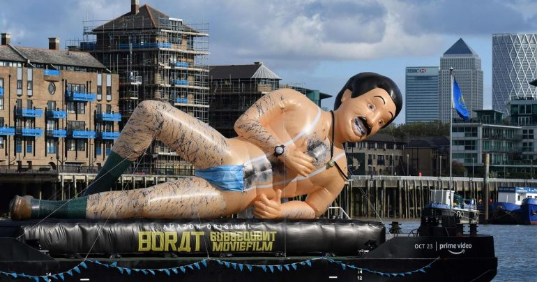 Giant Borath, wearing a trademark monkey, saw the bursting Thames flowing down the Thames
