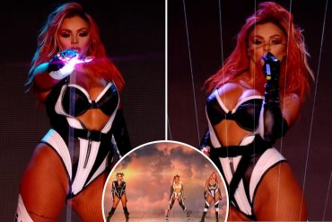 Jesse Nelson's skin looks enviable in tight leather as Little Mix performs without Jade Tirwal in search