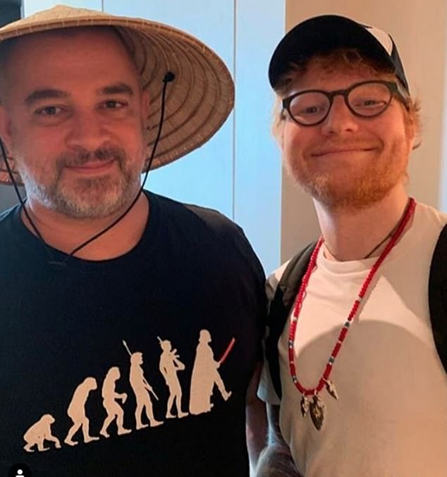 Pictured: Singer and songwriter Ed Sheeran with manager Stuart Camp