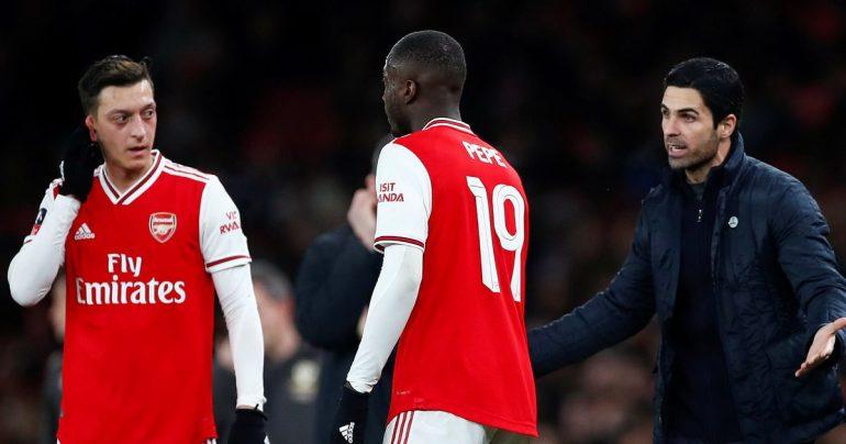 Nicolas Pepe Mesut Ozil was warned after Arsenal's victory over Dantak