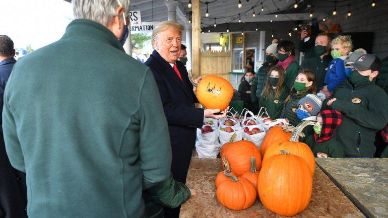 Trump autographs pumpkin on Maine campaign: 'It will be on eBay tonight'