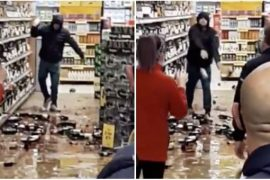 Watch: Irishman Drogheda attacks Tesco by smashing bottle after being asked to wear a mask.