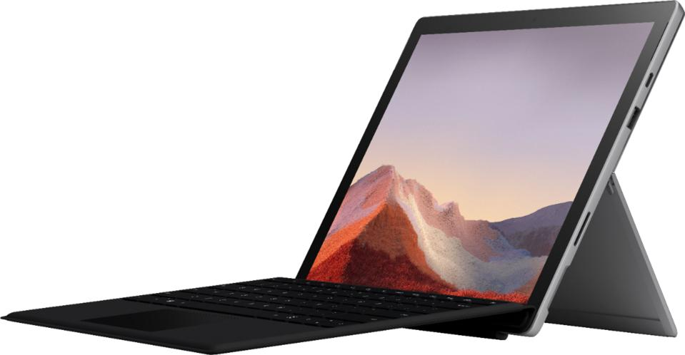 Microsoft - Surface Pro 7 - 12.3 Touchscreen - Intel Core i3 - 4GB Memory - 128GB SSD with Black Type Cover (latest model) - Platinum