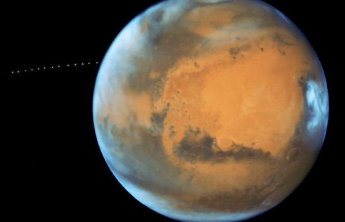 Discovery of parts of the moon in the orbit of Mars