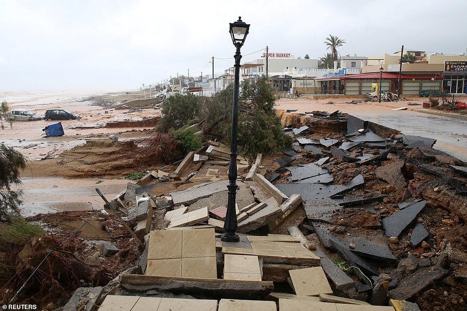 Coastal road damaged by heavy rains in Gornes village
