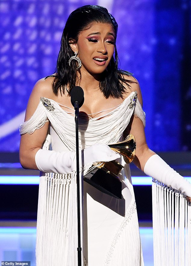 Going for Gold: Cardi won a Grammy for Best Rap Album last year for his debut studio album Invasion of Privacy, and has received seven other nominations since 2018 (pictured February 2019).
