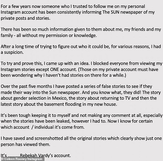 Ms. Rooney wrote on Instagram and Twitter: 'I have saved and screenshots all the real stories that clearly show that a person has seen them.  This one …………….  Rebecca Verdi's account.  '