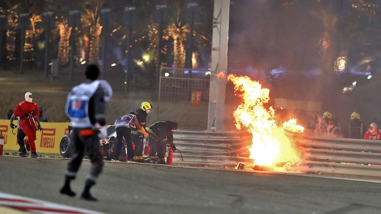 TopShot - On November 29, 2020, Haas F1's French driver Romain Grosjean's car caught fire after crashing during the Bahrain Formula One Grand Prix at the Bahrain International Circuit in the city of Zakir.  (Photo by Kamran Gabrielle / Pool / AFP) (Photo by Kamran Gabrielle / Pool / AFP via Getty Images)