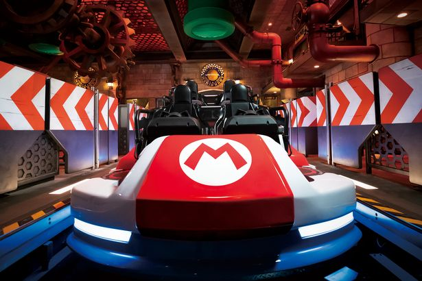 Close-up of one of the carts from the new Mario theme ride