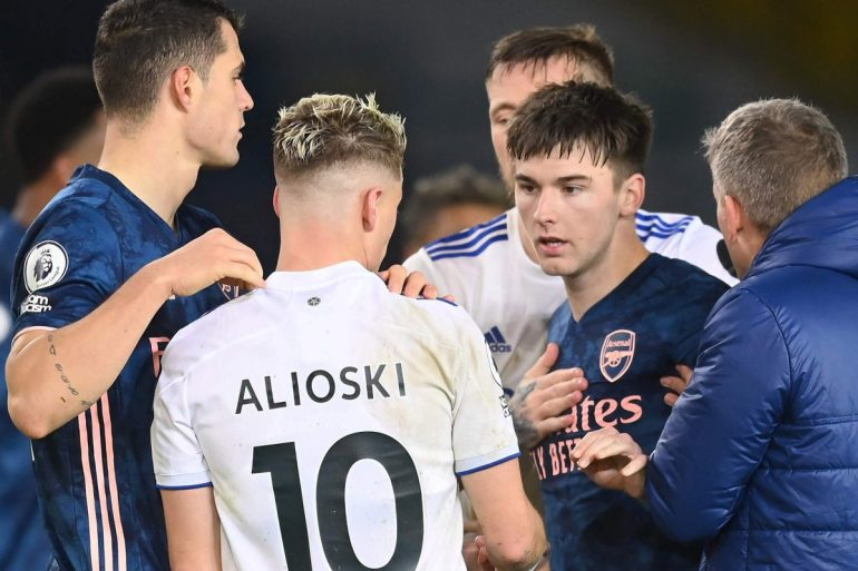 Arsenal players pull out Pepe Headbutt as angry Kieran Tiruni tries to face Leeds star Alyoski