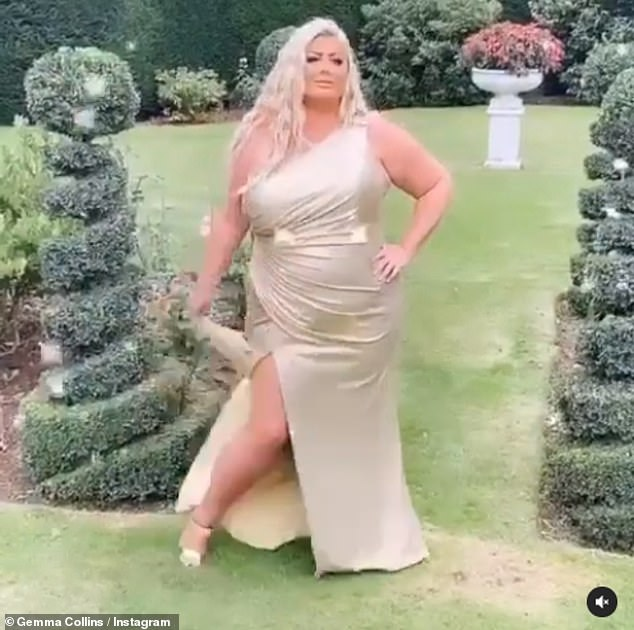 Too bad glam!  Gemma Collins poses for glamor in an asymmetrical gold gown while posing in the garden during Lockdown 2.0 after a 'flirty dinner' with former James Argentina.