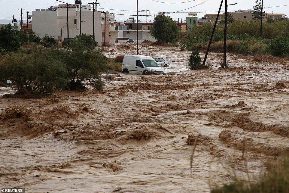 Extreme levels of flood danger were announced in at least 100 places, with mudslides and flooding in Crete.