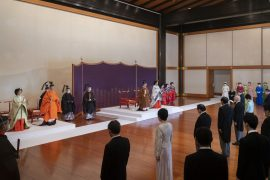 In this photo provided by the Imperial Household Agency of Japan, Japan's Crown Prince Akishino, second from left, flanked by his wife Crown Princess Kiko, left, attends a ceremony for formally proclaims Akishino is the first in line to the Chrysanthemum Throne with Emperor Naruhito, center left, and Empress Masako, center right, at the Imperial Palace in Tokyo, Sunday, Nov. 8, 2020. Akishisho, Naruhito's younger brother, was formally sworn in as first in line to the Chrysanthemum Throne in a traditional palace ritual that has been postponed for seven month and scaled down due to the coronavirus pandemic. (Imperial Household Agency of Japan via AP)