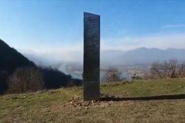 The monolith has appeared in Romania. Pic: Ziar Piatra Neamt