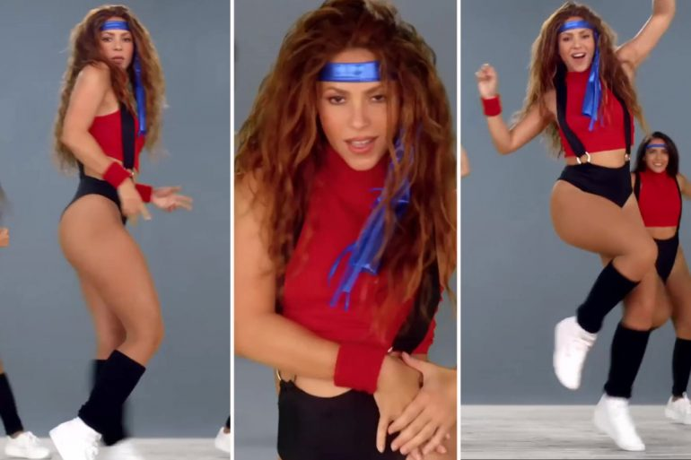 Shakira strips into 1980s style workout gear as she joins Black Eyed Peas in the music video for Girl Like Me