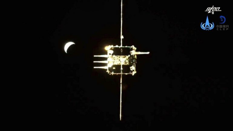 Chang'e-5 Ascending Docks with Orbital Module in Lunar Orbit
