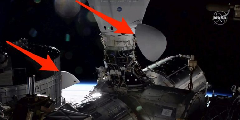 The image shows 2 SpaceX spaceships docked simultaneously into the space station