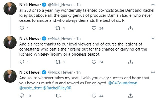 Reflection: Nick revealed that his contract will not be renewed in January as he turns 77 in February and is approaching his tenth year of hosting.