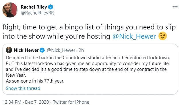 Bingo List!  After the news, Nick's teammate Rachel Riley shared an interesting statement with Twitter